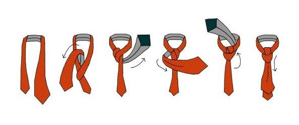 Схема як зав'язати краватку вузлом Віндзор