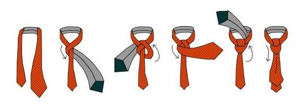 Схема як зав'язати краватку вузлом підлозі-віндзор (універсальний вузол)