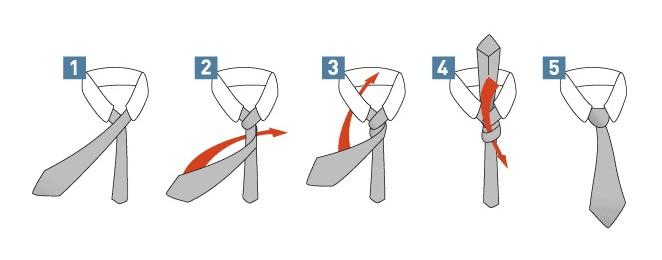 Схема як зав'язати краватку вузлом Принц Альберт