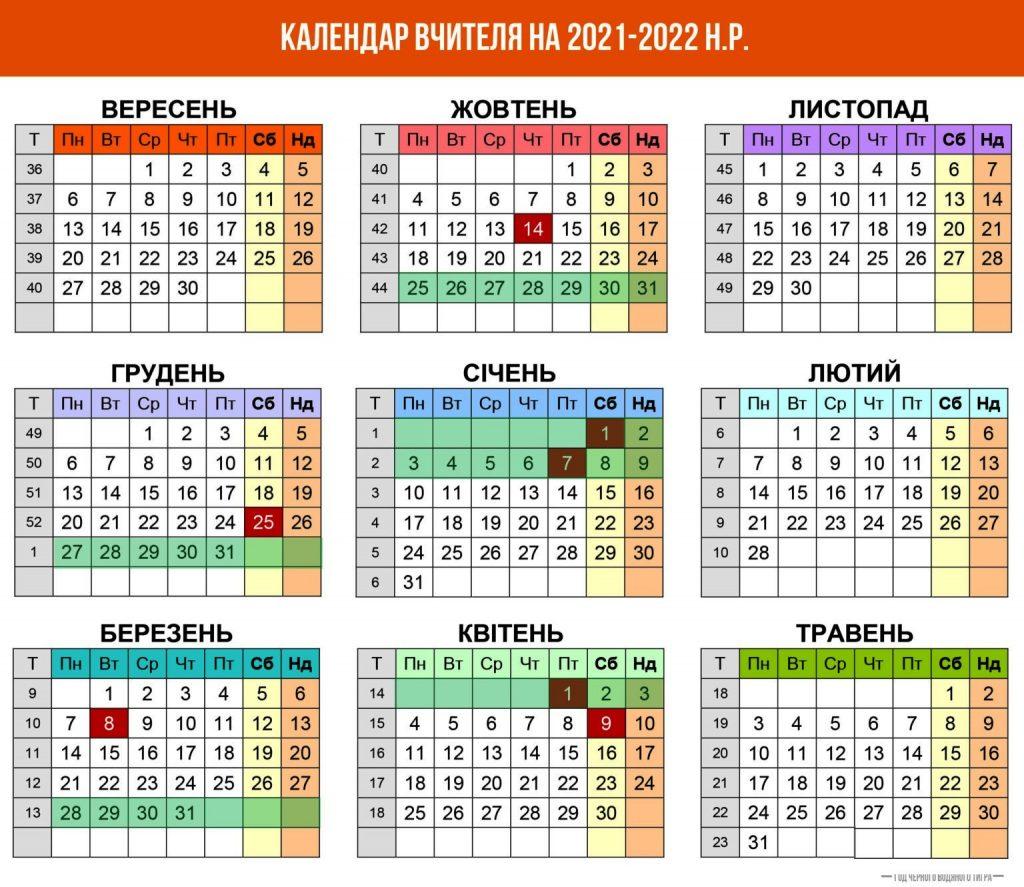 Шкільні канікули в Україні у 2021-2022 році