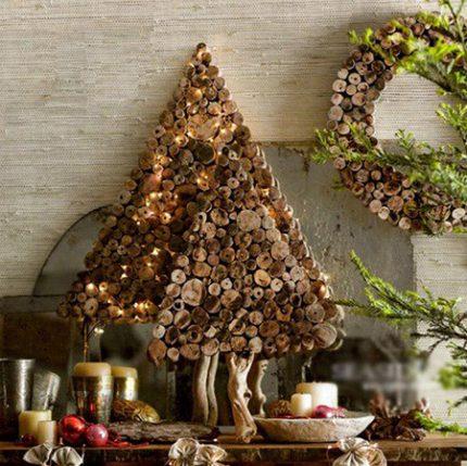 Дерев'яна ялинка в стилі еко на Новий Рік