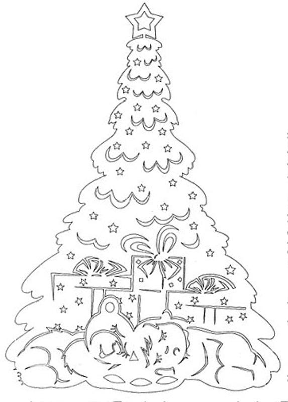 Трафарети з новорічною ялинкою для вікон